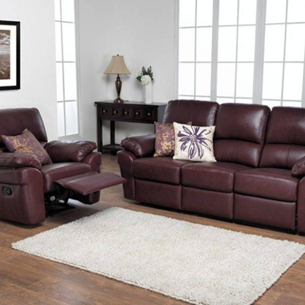 leather sofas in Burton on Trent - Leather Recliner and 3 seater from the Monzano Brown collection - Convenient for people looking for leather sofas in Ashbourne